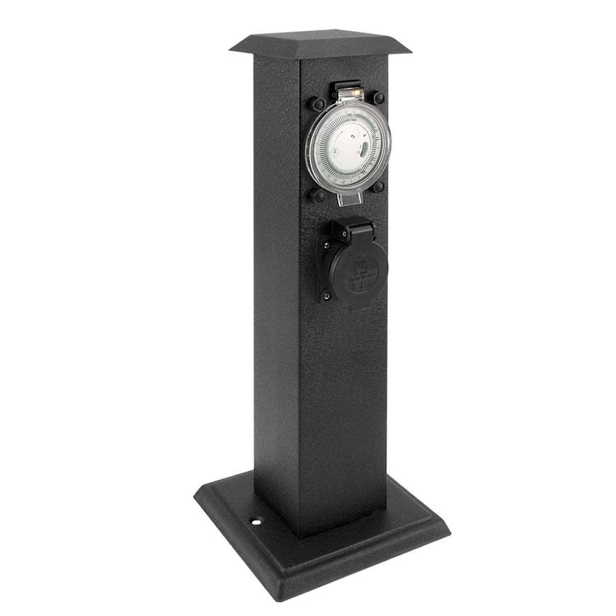 Tuinpaal, incl. timer en 3x wcd, met randaarde, metalen behuizing, spwd, IP44, zwart  default 870x870