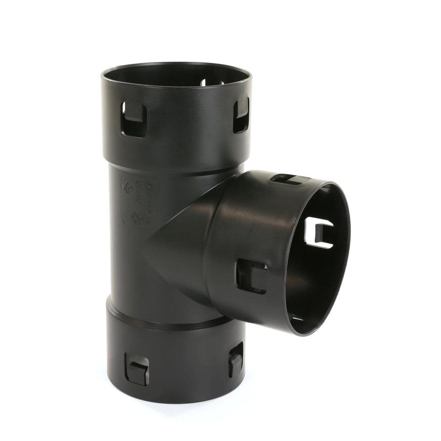 Klik T-stuk 90°, voor drainagebuis, pp, 60 mm
