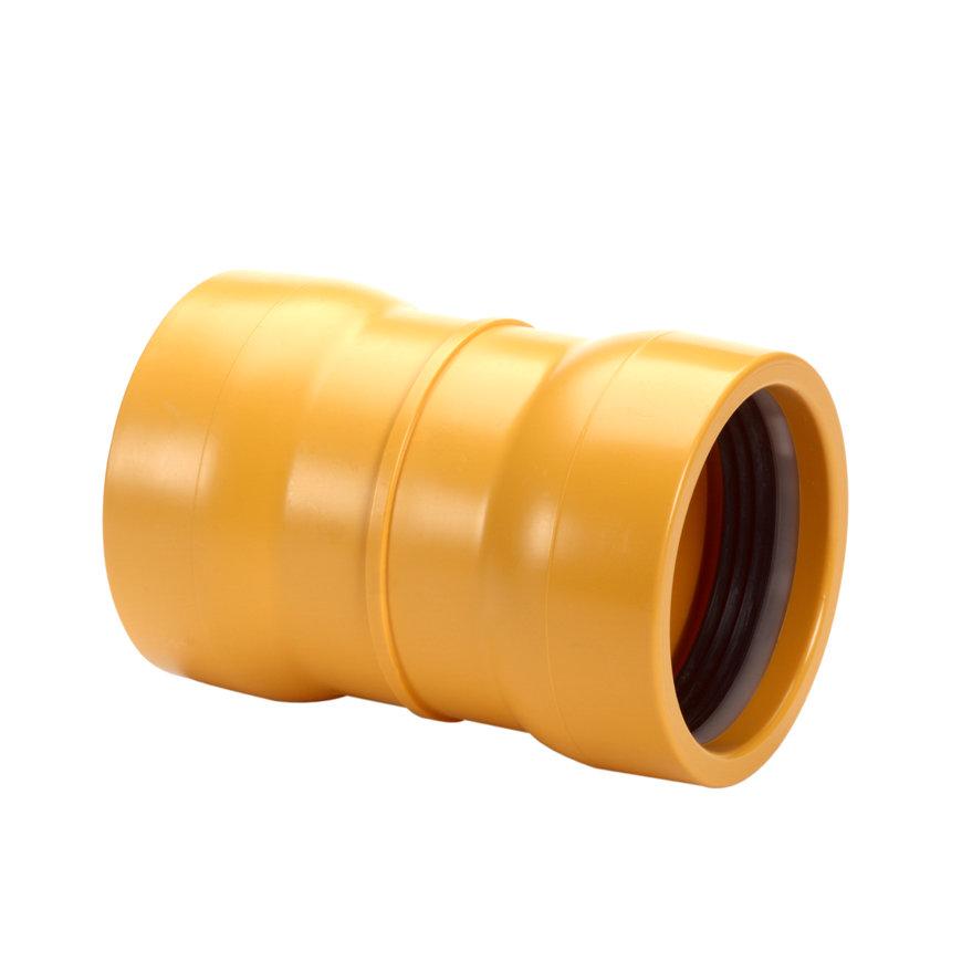 Pipelife slagvaste pvc steekmof, geel, Gastec QA, 2x manchet, 315 mm