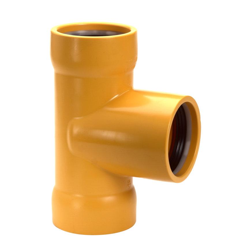 Slagvaste pvc t-stuk, geel, Gastec QA, 90°, 3x manchet, 63 mm  default 870x870