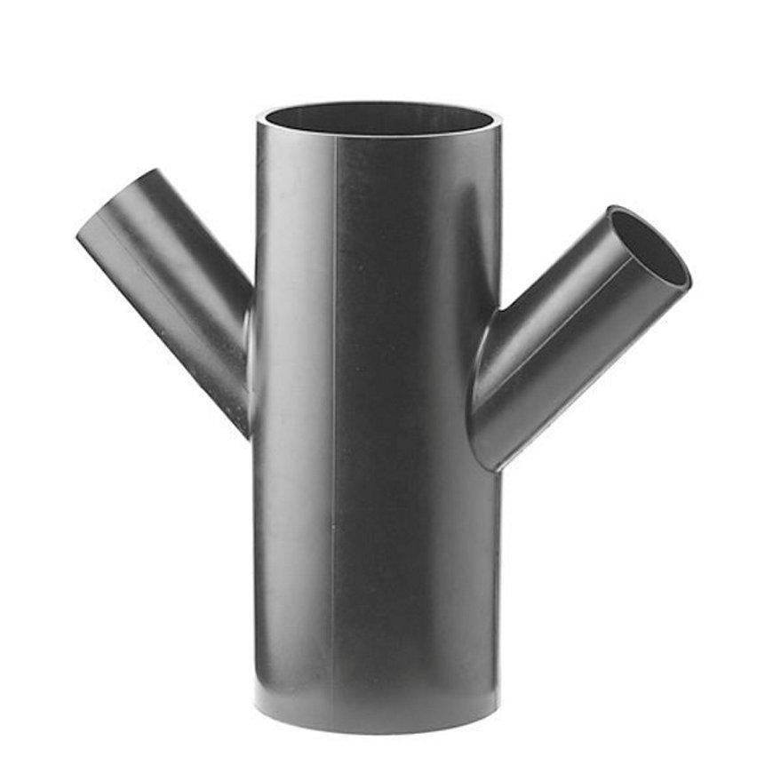 Pe afvoer dubbel T-stuk 45°, 4x spie, KOMO, 110 x 110 mm