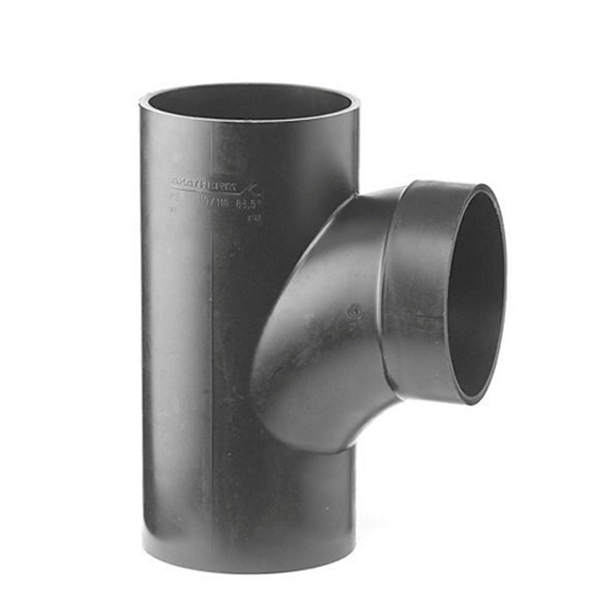 Pe afvoerstroming T-stuk 88,5°, 3x spie, KOMO, 110 x 110 mm  default 870x870