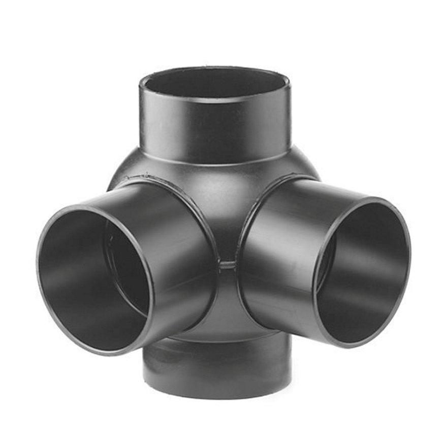 Pe afvoerkogel T-stuk 2-voudig 88,5°, 90°, 4x spie, KOMO, 110 x 110 mm  default 870x870