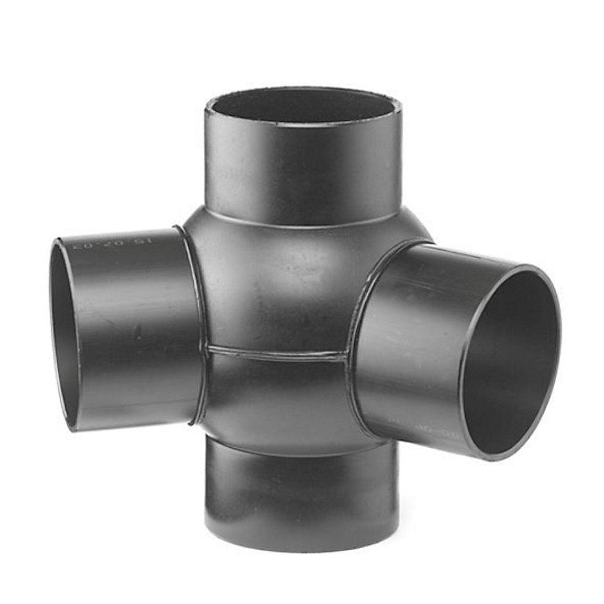 Pe afvoerkogel T-stuk 2-voudig 88,5°, 135°, 4x spie, KOMO, 110 x 50 mm