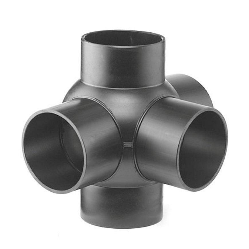 Pe afvoerkogel T-stuk 3-voudig 88,5°, 90°, 5x spie, KOMO, 110 x 50 mm  default 870x870