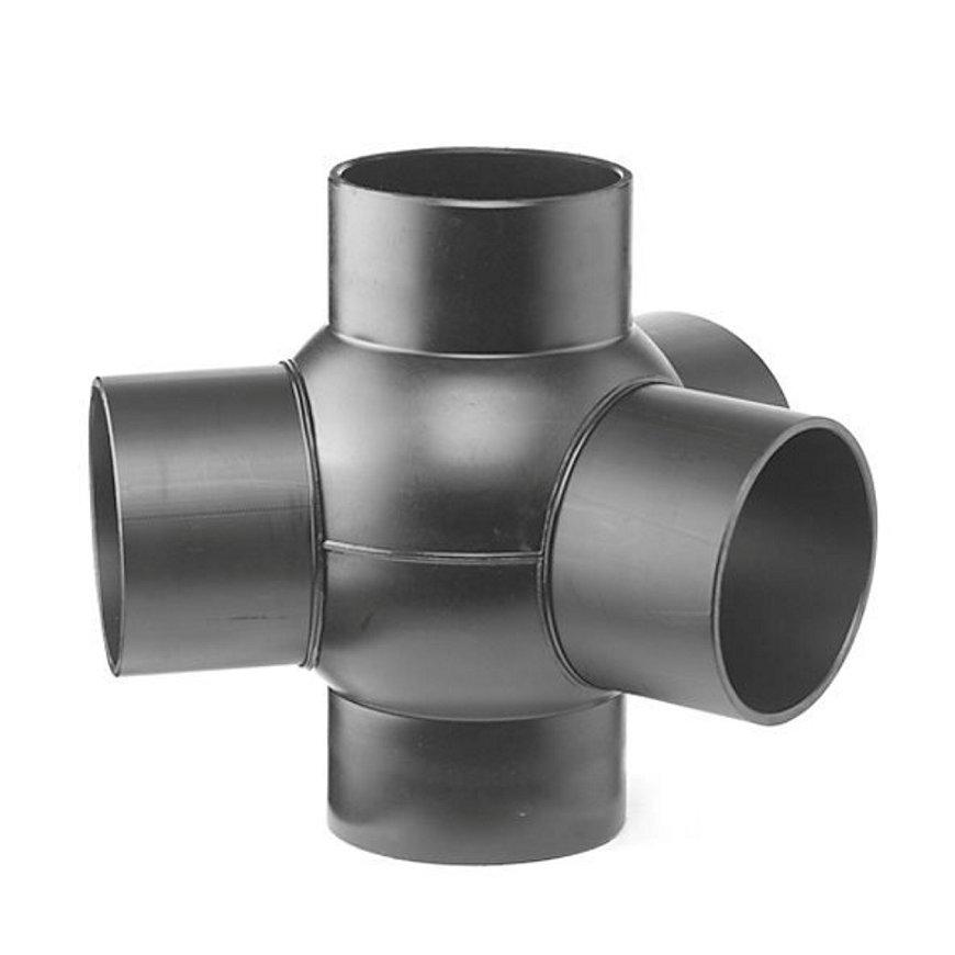 Pe afvoerkogel T-stuk 3-voudig 88,5°, 135°, 5x spie, KOMO, 125 x 75 mm