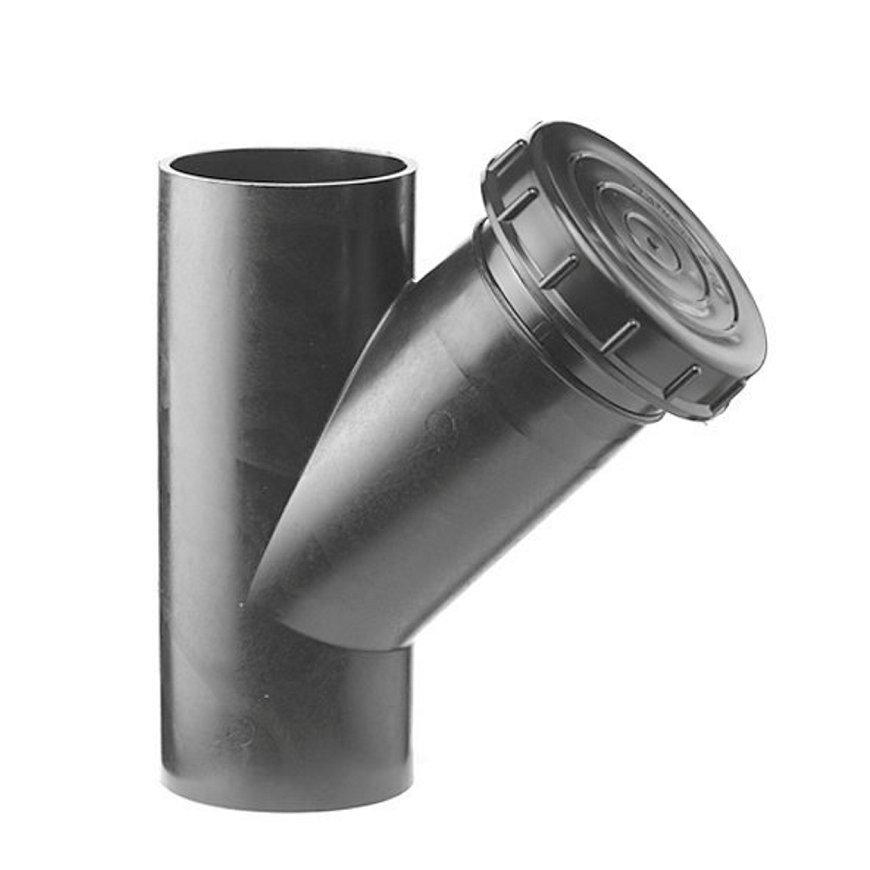 Pe afvoerontstoppingsstuk 45° met schroefdeksel, 2x spie, KOMO, 125 mm