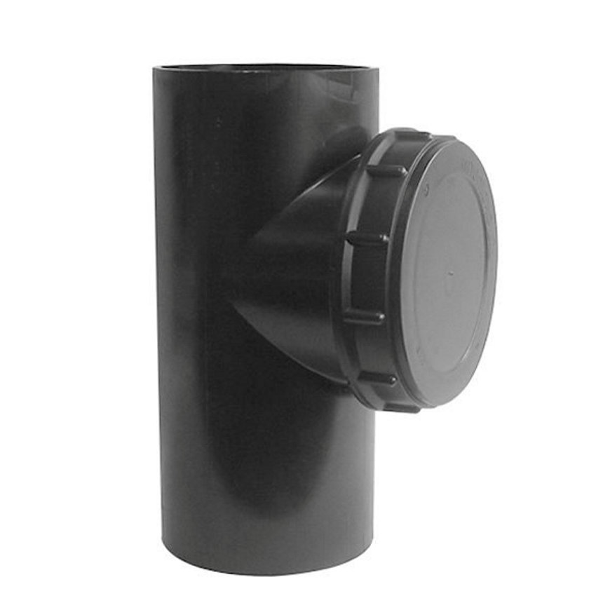 Pe afvoerontstoppingsstuk 90° met schroefdeksel, 2x spie, KOMO, 90 mm