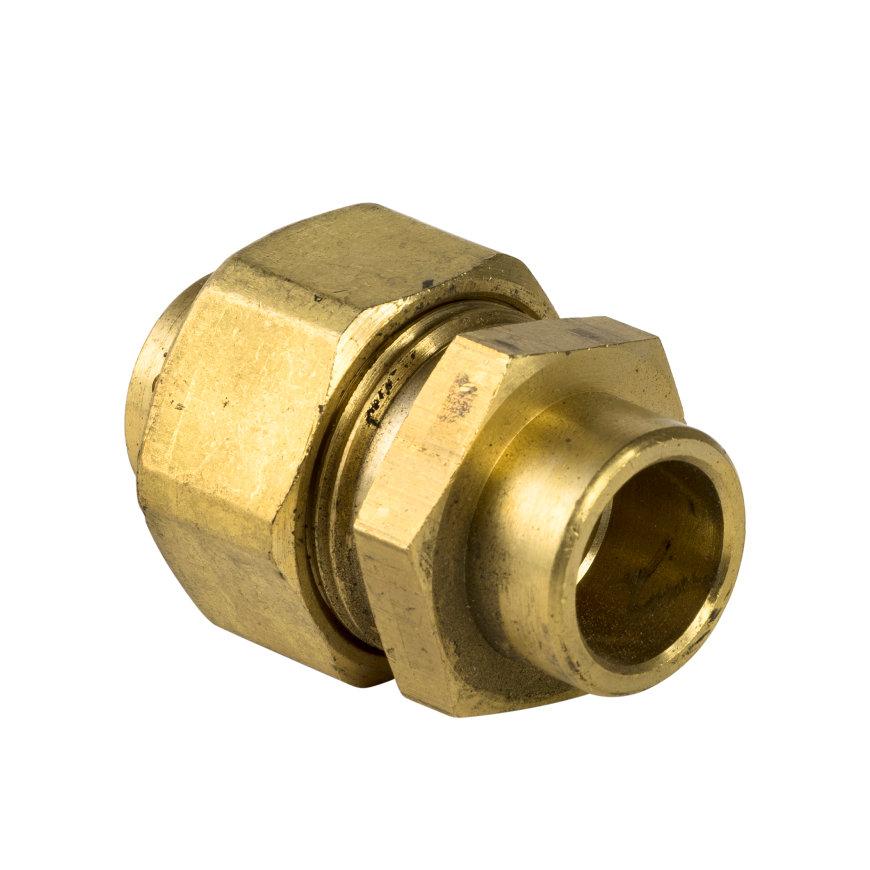 Bonfix messing 3-delige soldeerkoppeling, Gastec, 2x inwendig capillair, 22 mm
