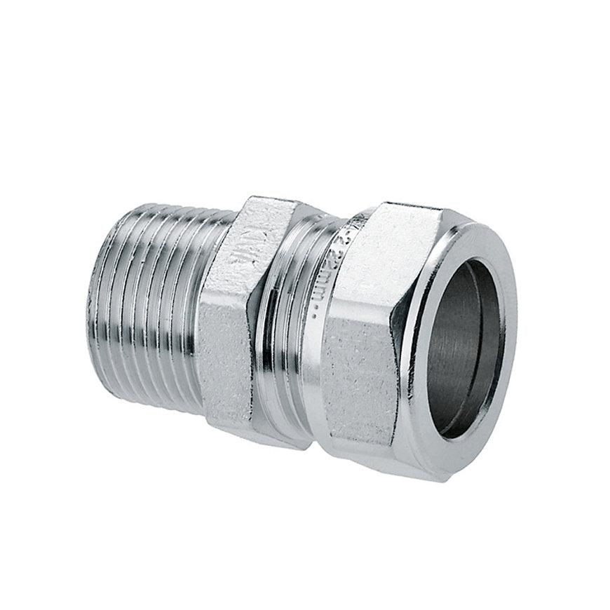 """Bonfix Messing-Gewindekupplung, verzinnt, Kiwa/GASTEC, Außengewindex QV, 1""""x22mm"""