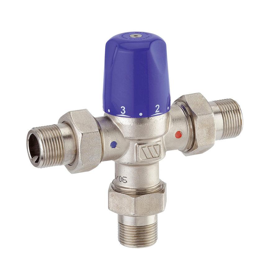 """Watts thermostatisch mengventiel, type MMV-C, incl koppelstukken, DN 15, ½"""" bu.dr."""