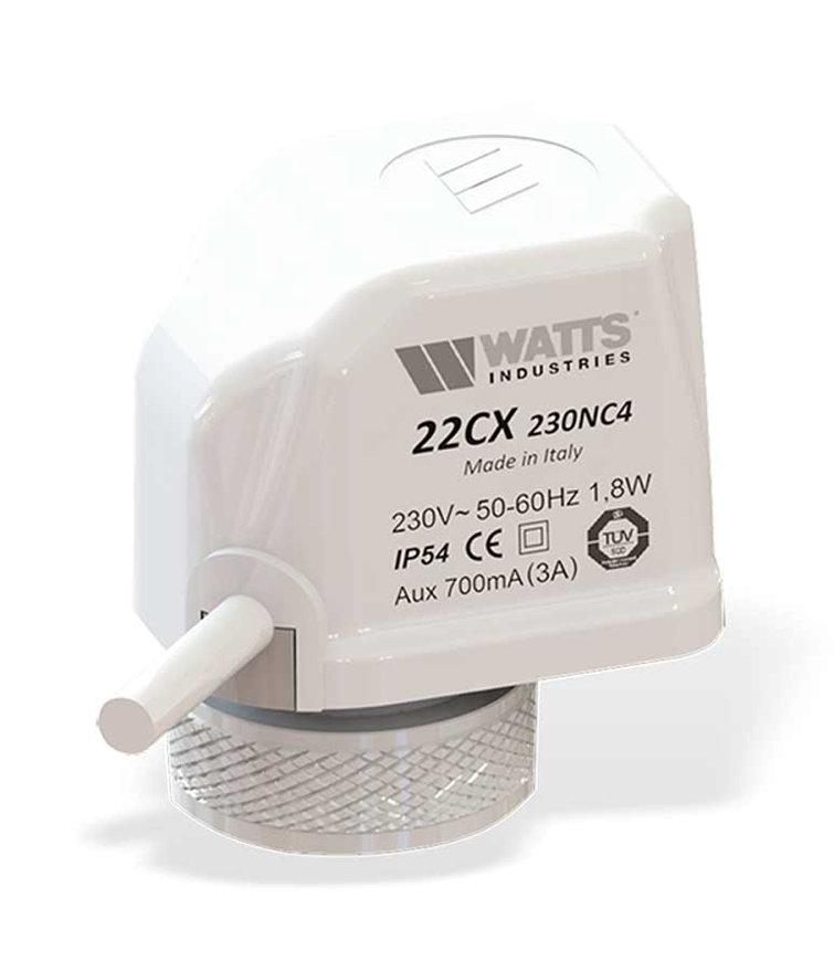 Watts stelmotor voor ventiel, type 22CX, 230 V, NC 2-draads