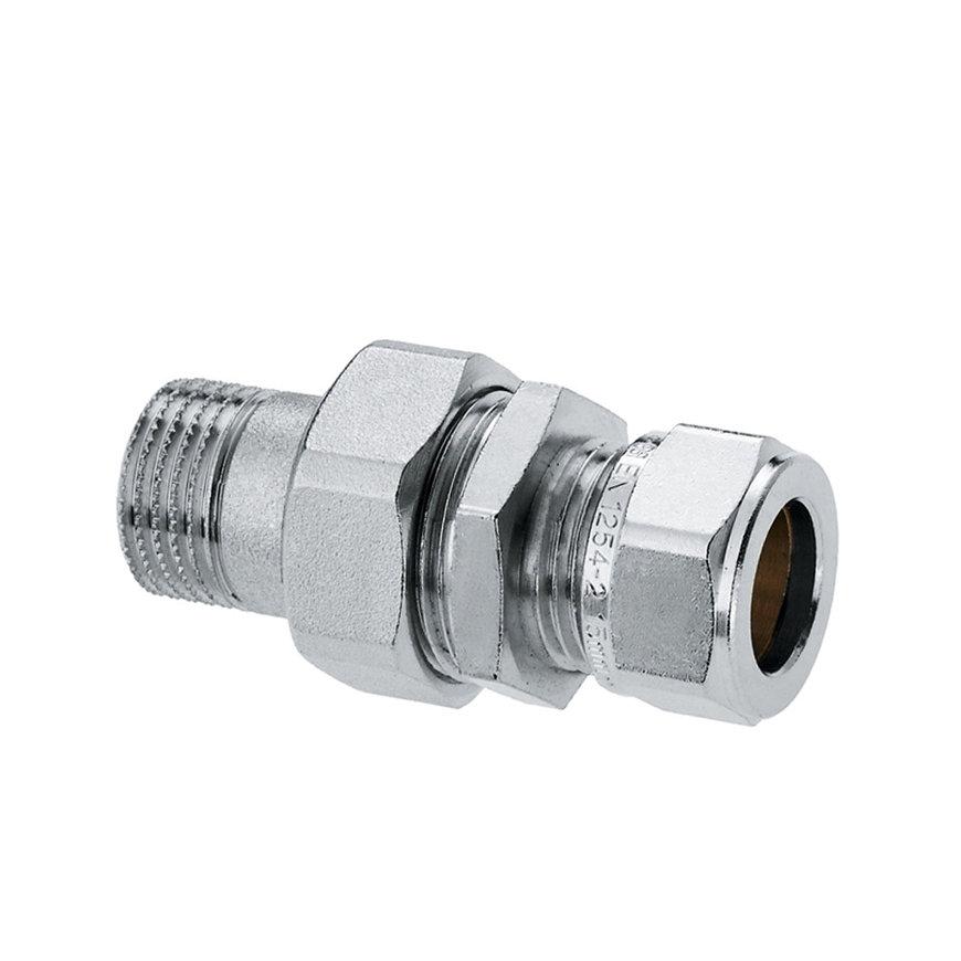 "Bonfix messing radiatorkoppeling, vertind, recht, buitendraad x knel, ½"" x 15 mm, Kiwa ATA/Gastec QA"