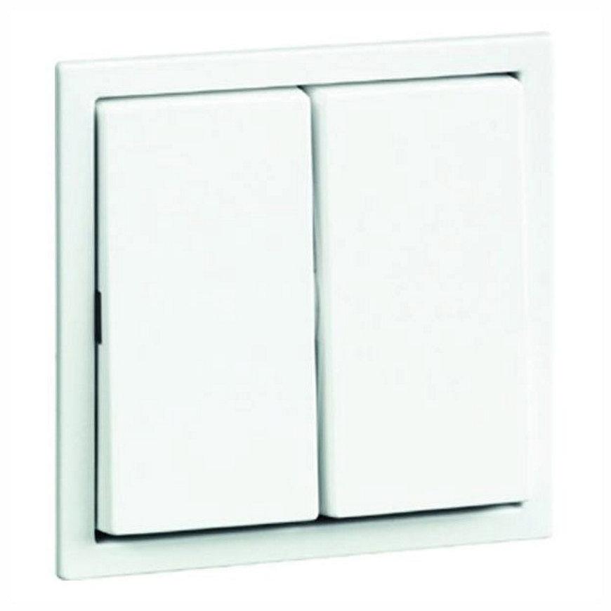 Peha Aura klemwip met centraalplaat, voor comb., serie, wis/wis, dubbel-pulsdrukker, levend wit  default 870x870