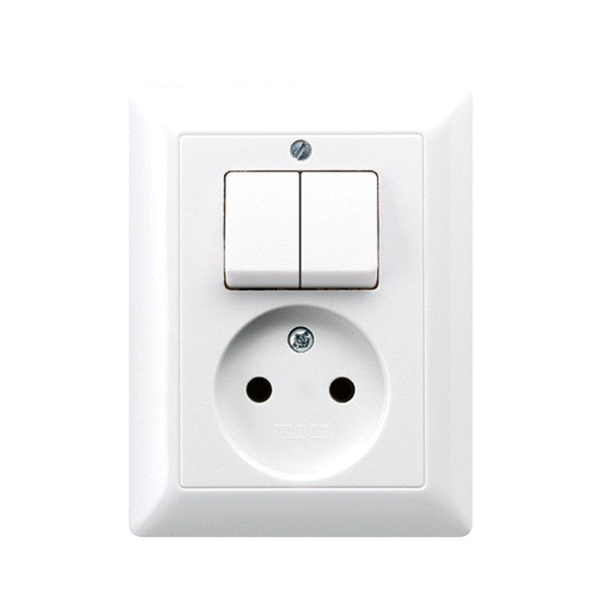 Jung combinatie wipschakelaar/WCD, AS range, inbouw, zonder randaarde, serie, alpine wit