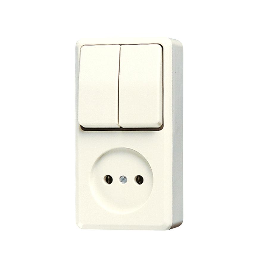Jung opbouwcombinatie wipschakelaar/wandcontactdoos, zonder randaarde, serie  default 870x870