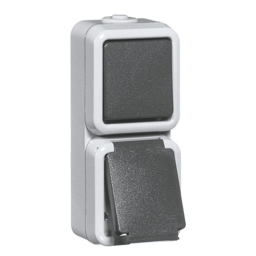 Peha spwd wipschakelaar combinatie met randaarde 10 A/250 V, serie, IP 54