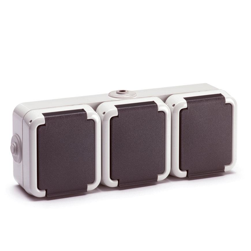 Peha spwd wandcontactdoos met randaarde, 2-polig, 10/16 A, 250 V, 3-voudig horizontaal, IP 54  default 870x870