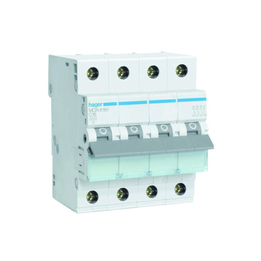 Hager installatie-automaat, 3p+N, 16 A, C-karakteristiek, 6 kA