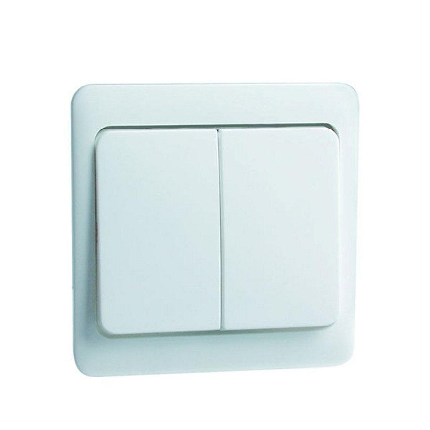 Peha Standard klemwip met centraalplaat, tbv combinaties, serie, wis/wis, dubbel-pulsdrukker, wit