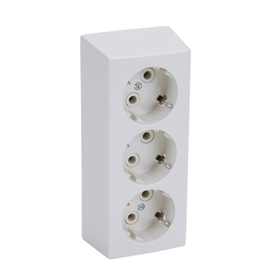 Peha opbouw wandcontactdoos, met randaarde, 3-voudig, wit  default 870x870