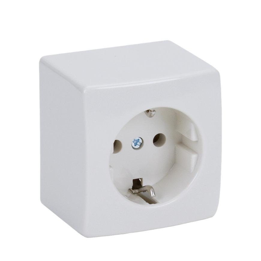 Peha opbouw wandcontactdoos, met randaarde, enkel, wit  default 870x870