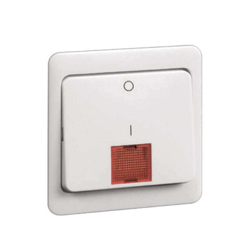 Peha Standard klemwip met centraalplaat, rode lens tbv schakelaar + controlelamp, 2-p, levend wit