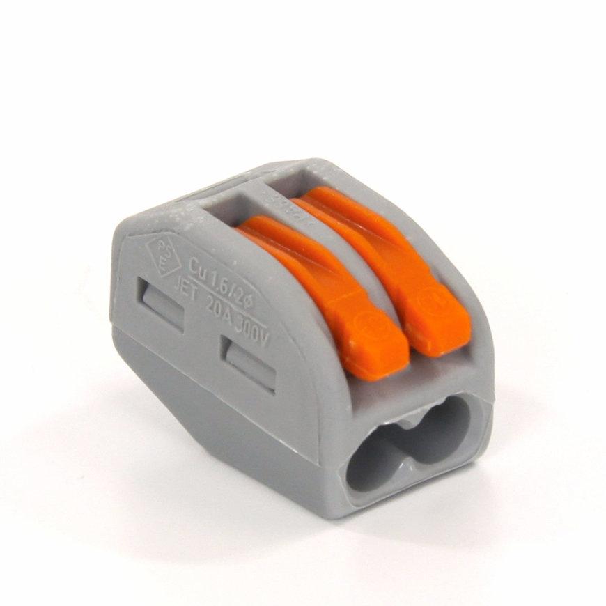Wago verbindingsklem, hersluitbaar, grijs, type 222, 2x 0,08 - 2,5 mm²