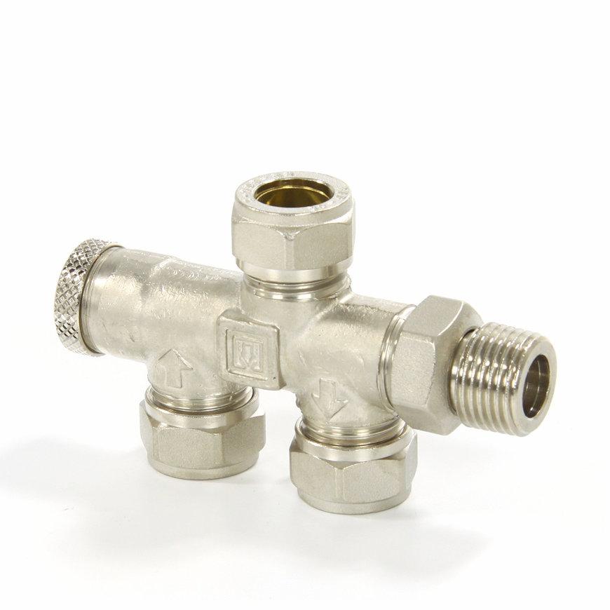 TECEflex onderblok 2 pijps regel- en afsluitbaar, incl. koppeling 15 mm knel