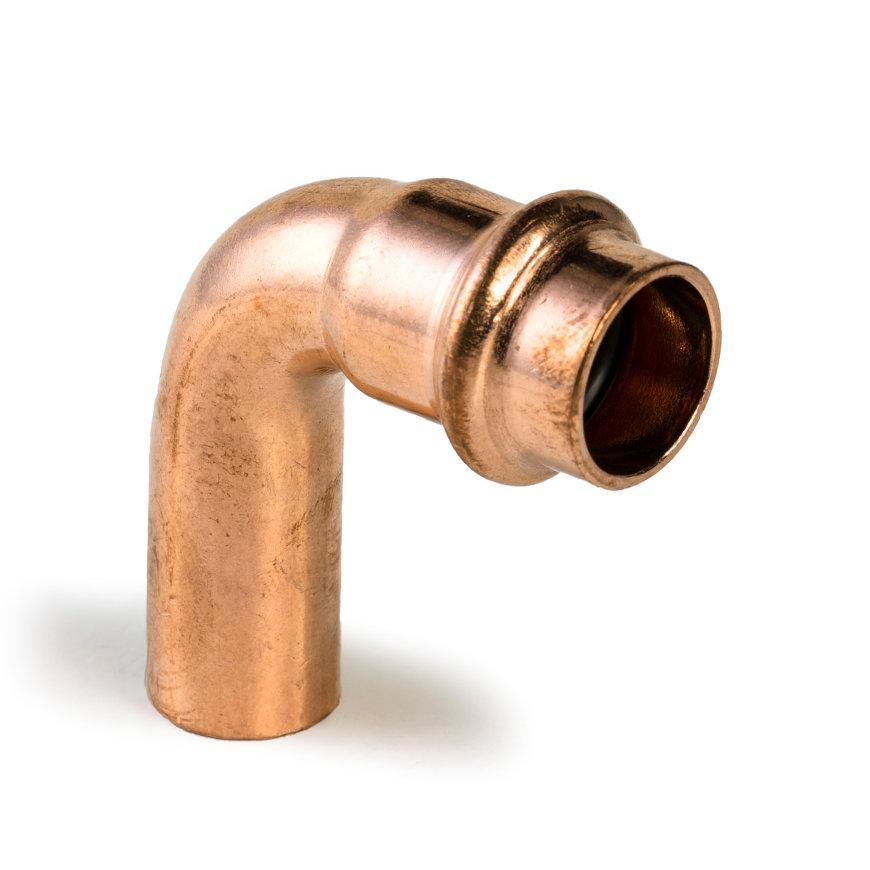 Viega Profipress bocht 90° met SC-Contur, koper, type 24161, 12 mm, M x S