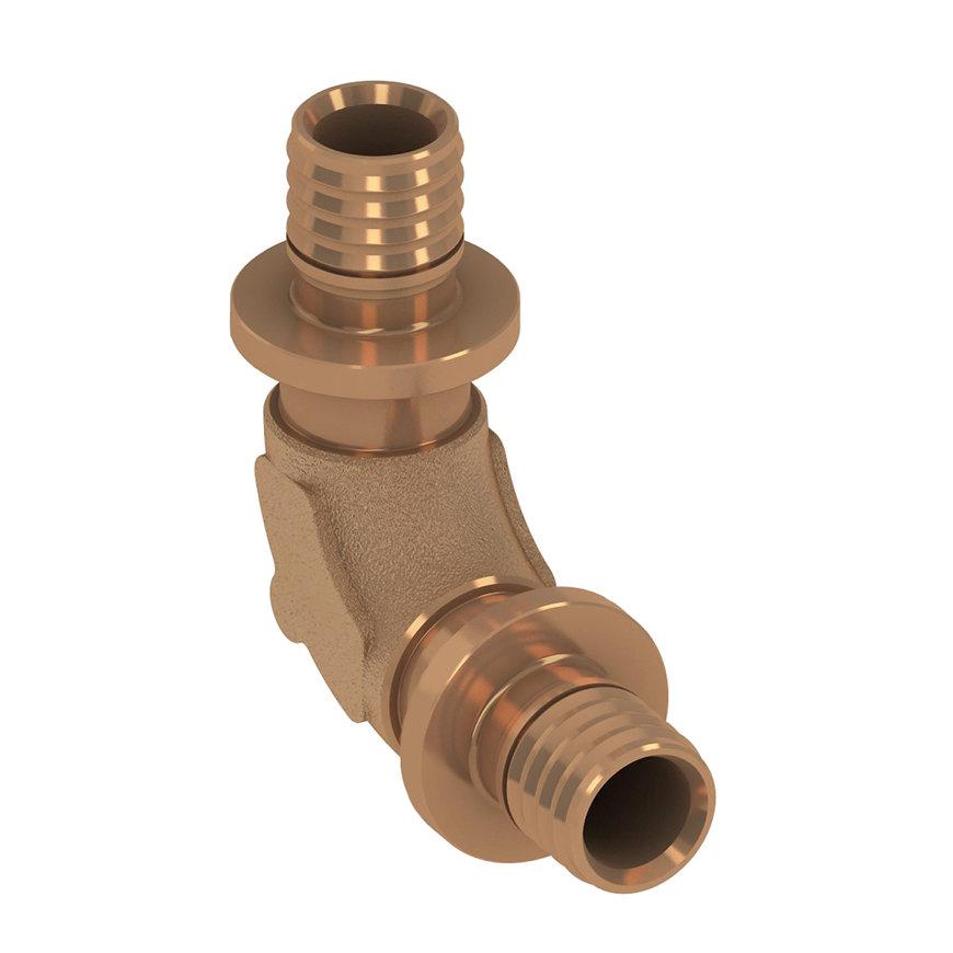 TECEflex knie 90° stromend, brons, 2x pers, 16 x 16 mm