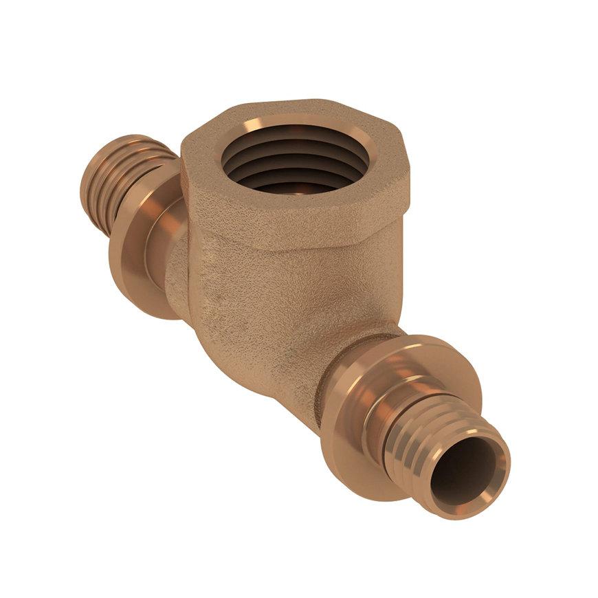 """TECEflex schroef T-stuk 90°, brons, 2 pers/ 1x binnendraad, 25 mm x ½""""  default 870x870"""
