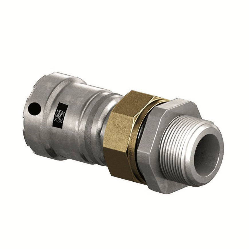 "Viega Megapress schroefkoppeling, staal/verzinkt, type 4265, pers x buitendraad, 1¼"" x 1¼"""