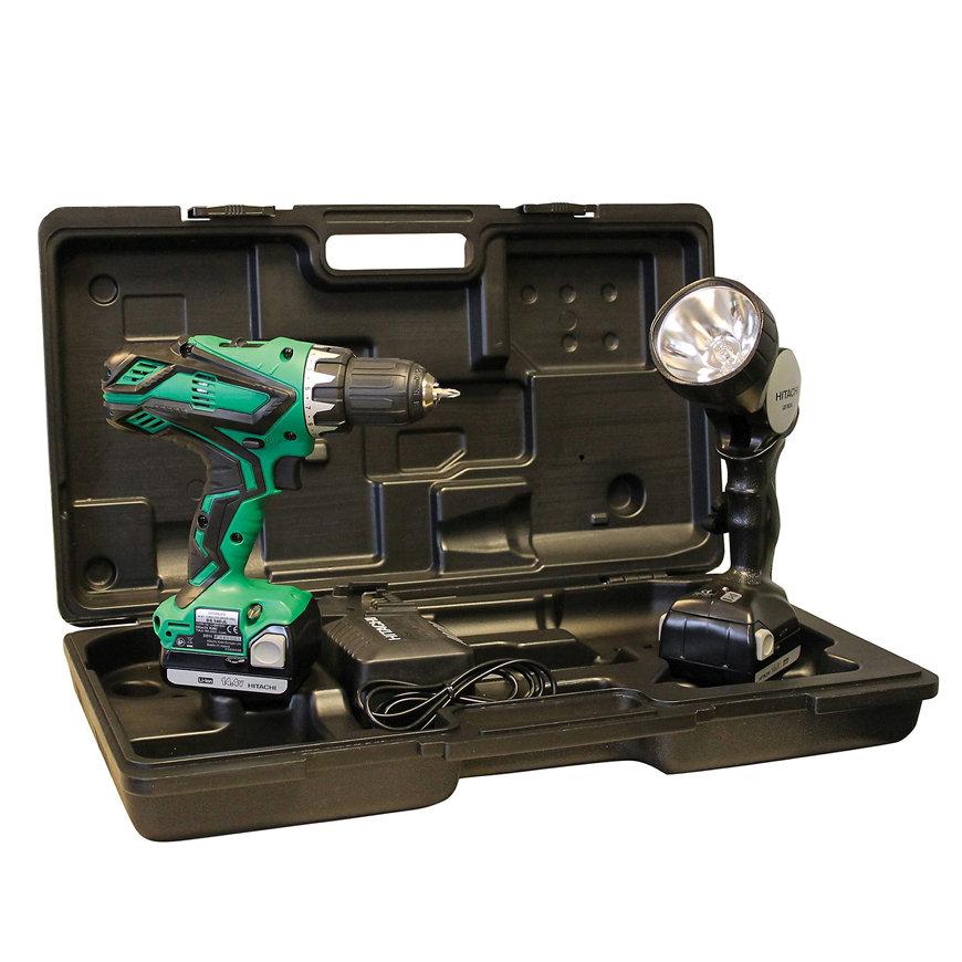 Hitachi accu boor-schroefmachine, type DS14DJL(LA), 14,4 V, 1500 mAh, complete set