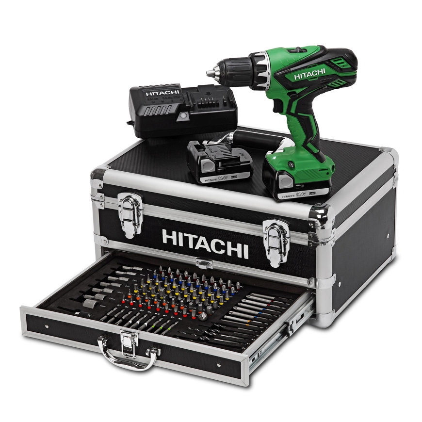Hitachi accu boor-schroefmachine, 18 V, 1.500 mAh, type DS18DJL, incl. koffer en bitset  default 870x870