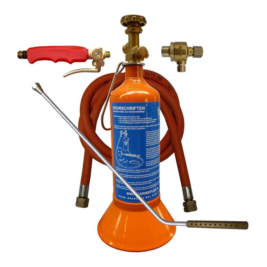 Hasmi uierbrander, set met karweifles en speciale brander, l = 750 mm