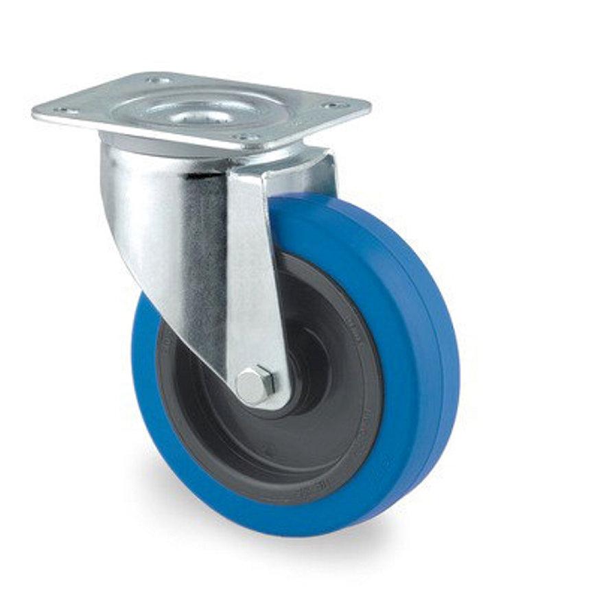 TENTE zwenkwiel, elastisch rubberband, plaatbevestiging, 100 mm, blauw  default 870x870