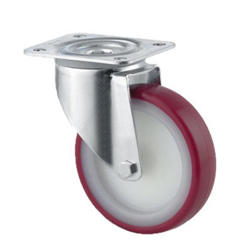 TENTE zwenkwiel, polyurethaan, plaatbevestiging, 100 mm, rood  default 870x870