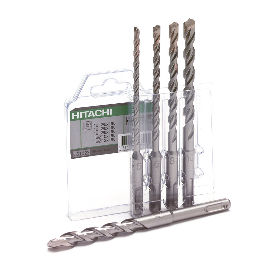 Hitachi/HiKOKI betonborenset, type SDS-Plus, 5-delig, 5-6-8-10-12 x 160 mm  default 870x870
