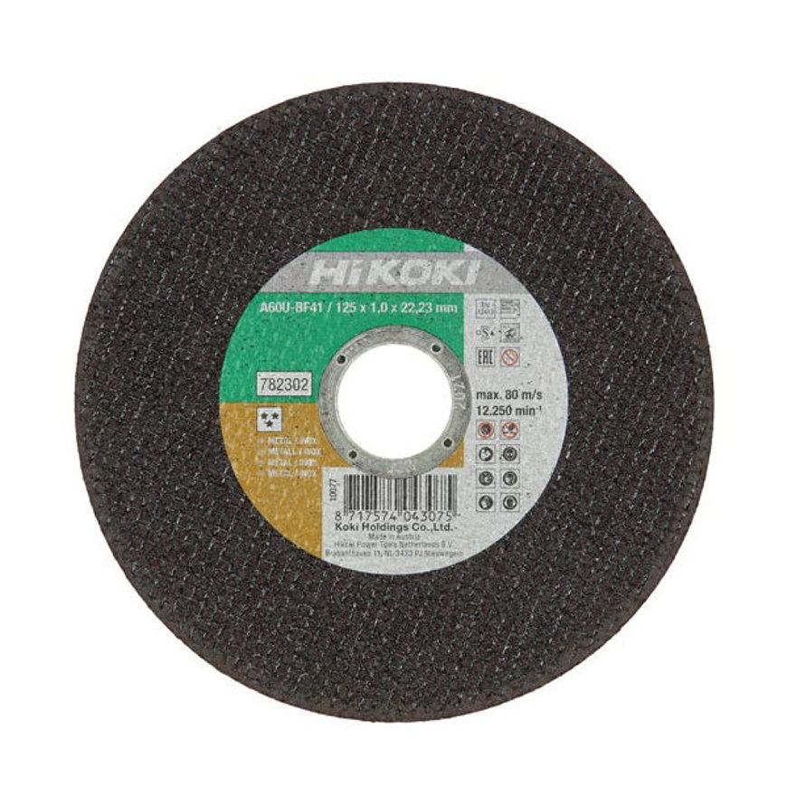 Hitachi/HiKOKI doorslijpschijf voor Inox en staal, type A46T11BF, asgat 22,23 mm, 125x1mm, brilliant