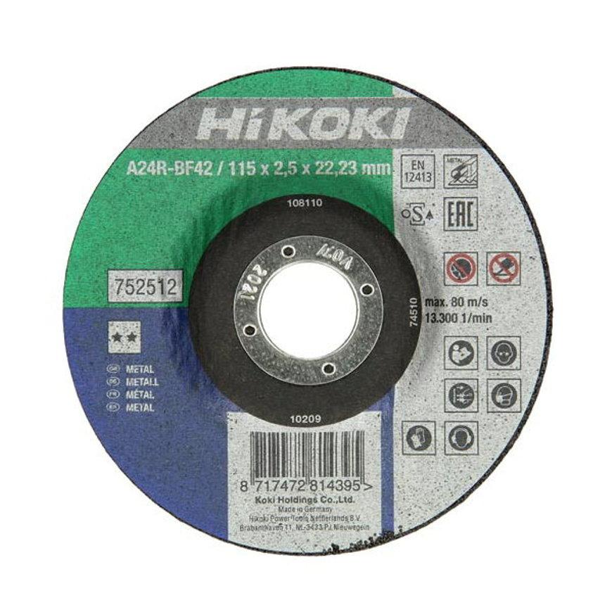 Hitachi/HiKOKI doorslijpschijf voor metaal, vlak, type A24R, asgat 22,23 mm, 125 x 2,5 mm