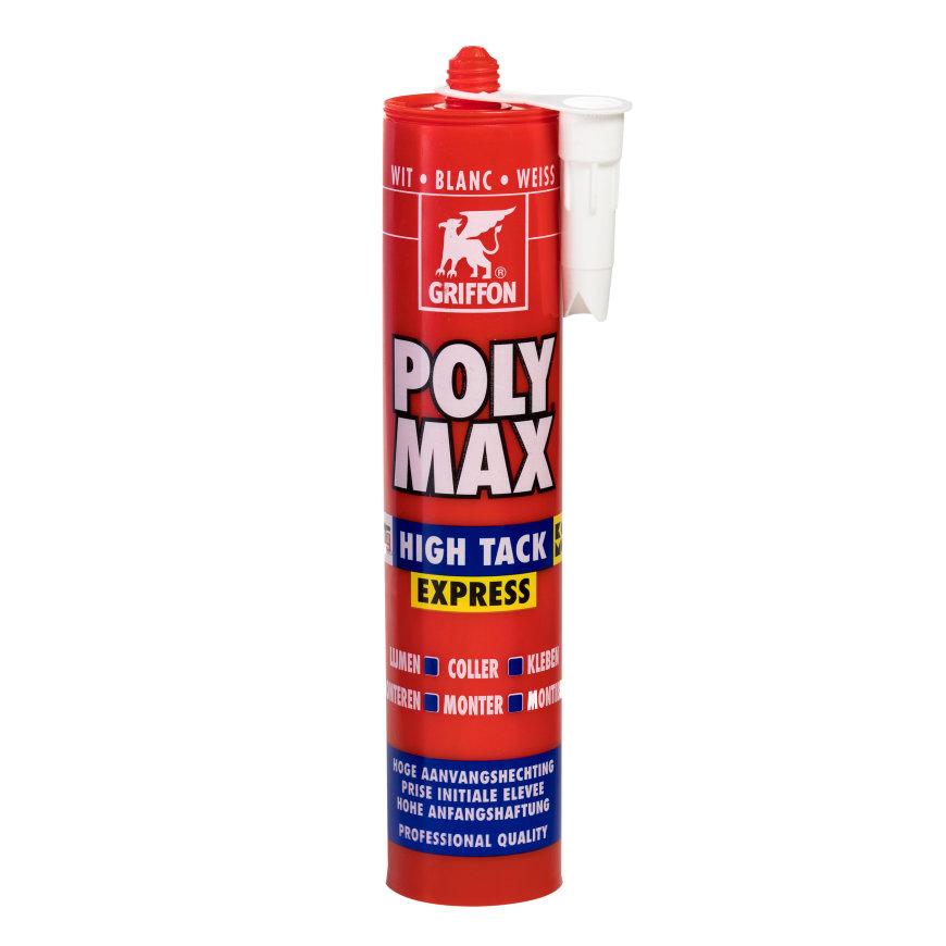 Griffon Poly Max High Tack Express montagelijm, koker à 435 gram, wit