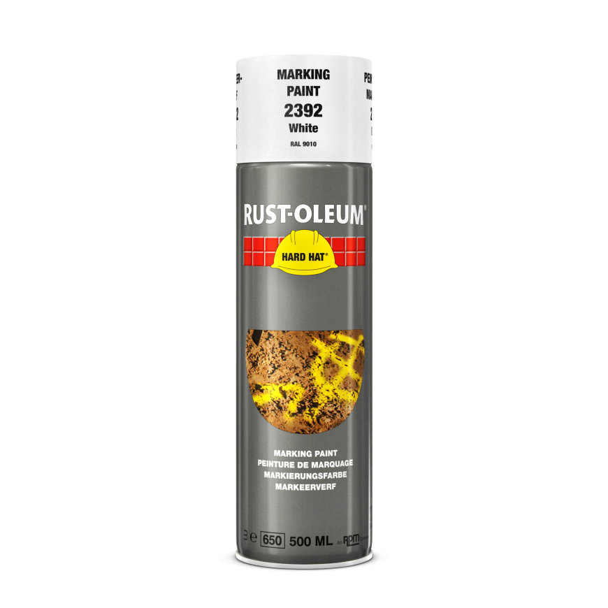 Rust-Oleum Hard Hat markeerverf, wit (RAL 9010), spuitbus à 500 ml