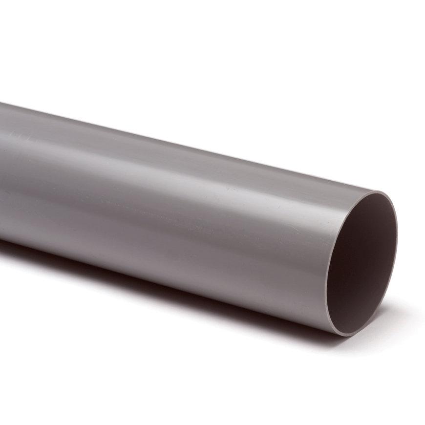 Hwa buis, slagvast, pvc, grijs, 100 x 1,8 mm, l = 5,55 m