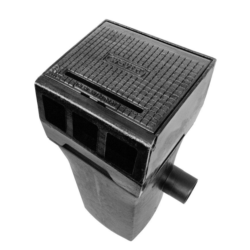Wavin Gehwegabfluss, Typ Save, PP, C250, 380x380mm, 45Liter, H=860mm, mit Schmutzfänger