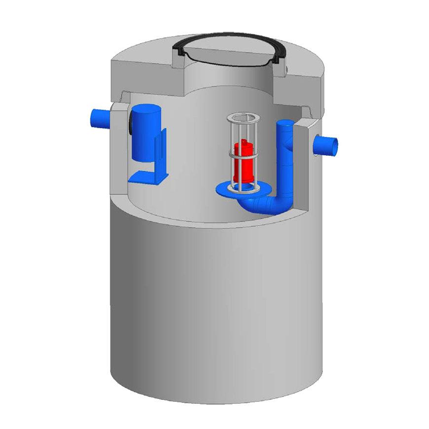Betonnen olieafscheider Integr.Euromal+, coating, klasse D 400kN, 6 ltr/sec. slibvang 1200 ltr. CE  default 870x870