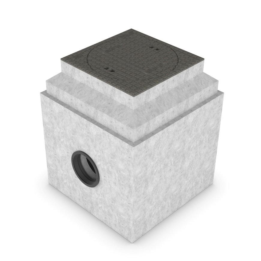 Betonnen controleput, klasse D 400kN, l x b x h,800x800x960 mm, aansl. Ø315 mm. (gelijke hoogte)  default 870x870