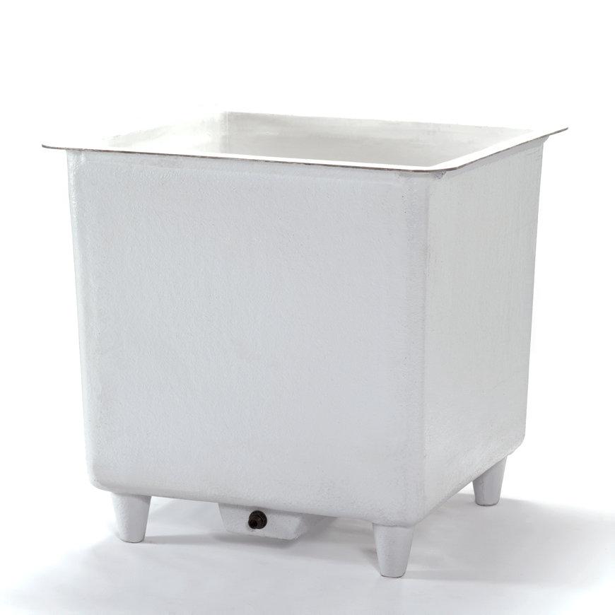 Polyester vloeistofbak, vierkant/rechthoekig, aftapbak en poten, 600 liter