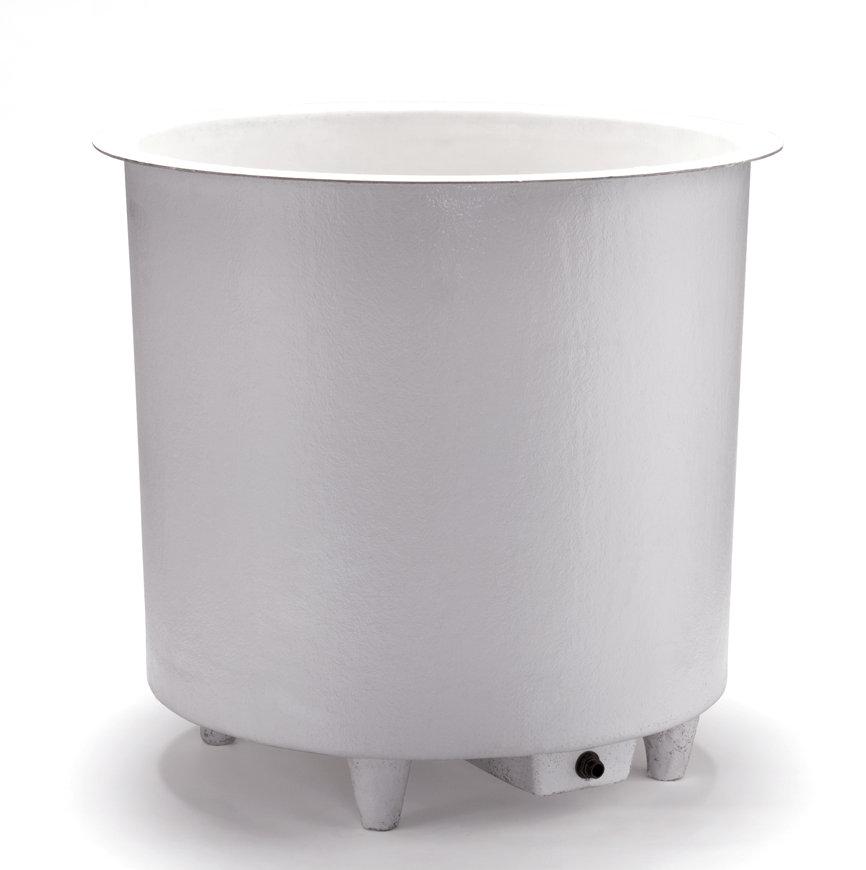 Polyester vloeistofbak, rond, aftapbak en poten, 400 liter