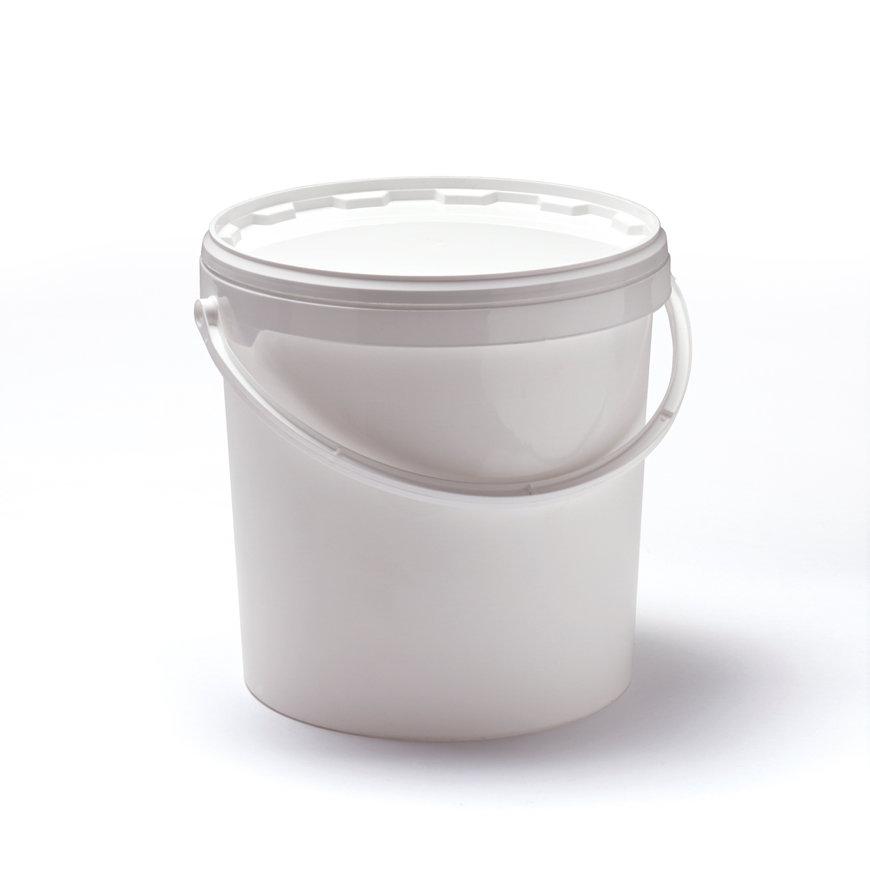 Cilindrische emmer, inclusief deksel met garantiesluiting, pp, 3 liter, wit